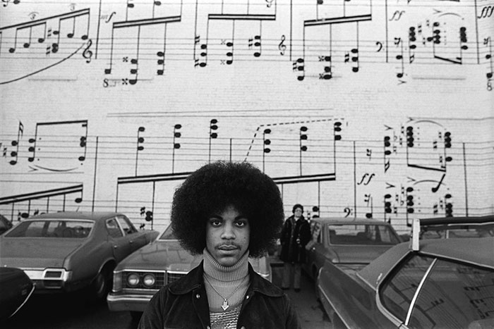 Photo taken by Robert Whitman of 19 year-old Prince Rodgers, taken outside Schmitt Music Headquarters in 1977