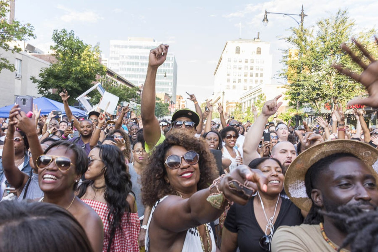 (Above: The summer crowd enjoying the 14th Annual Silver Room Block Party during Pete Rock's set, photo courtesy of Alonzo Silvers for the Chicago Reader)