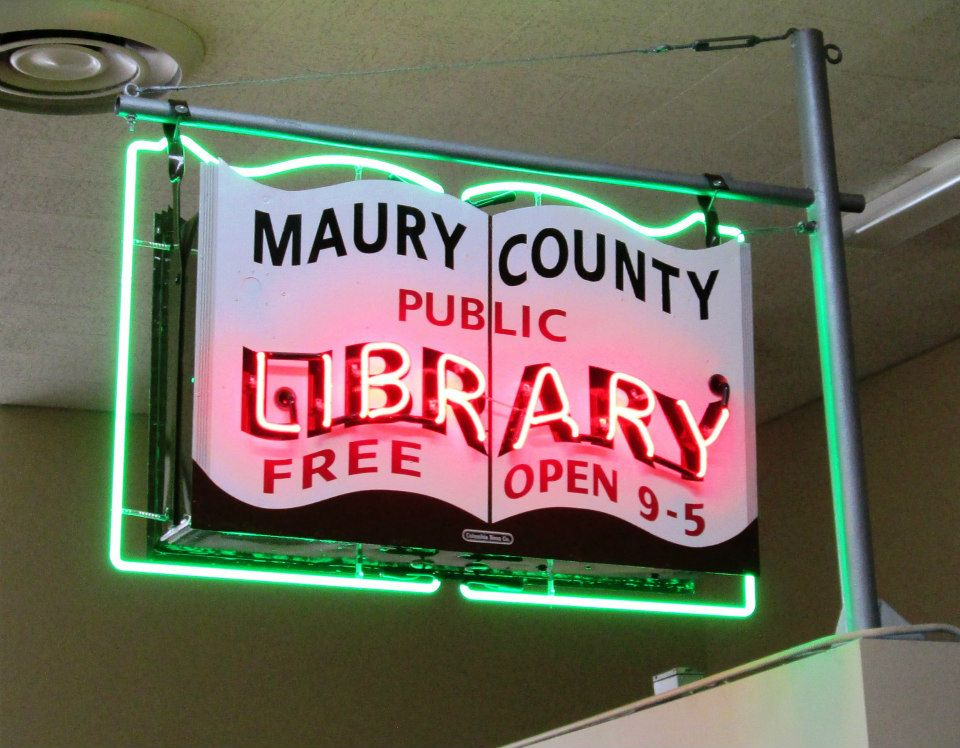 Restored Maury County Library sign. Credit: Maury County Library