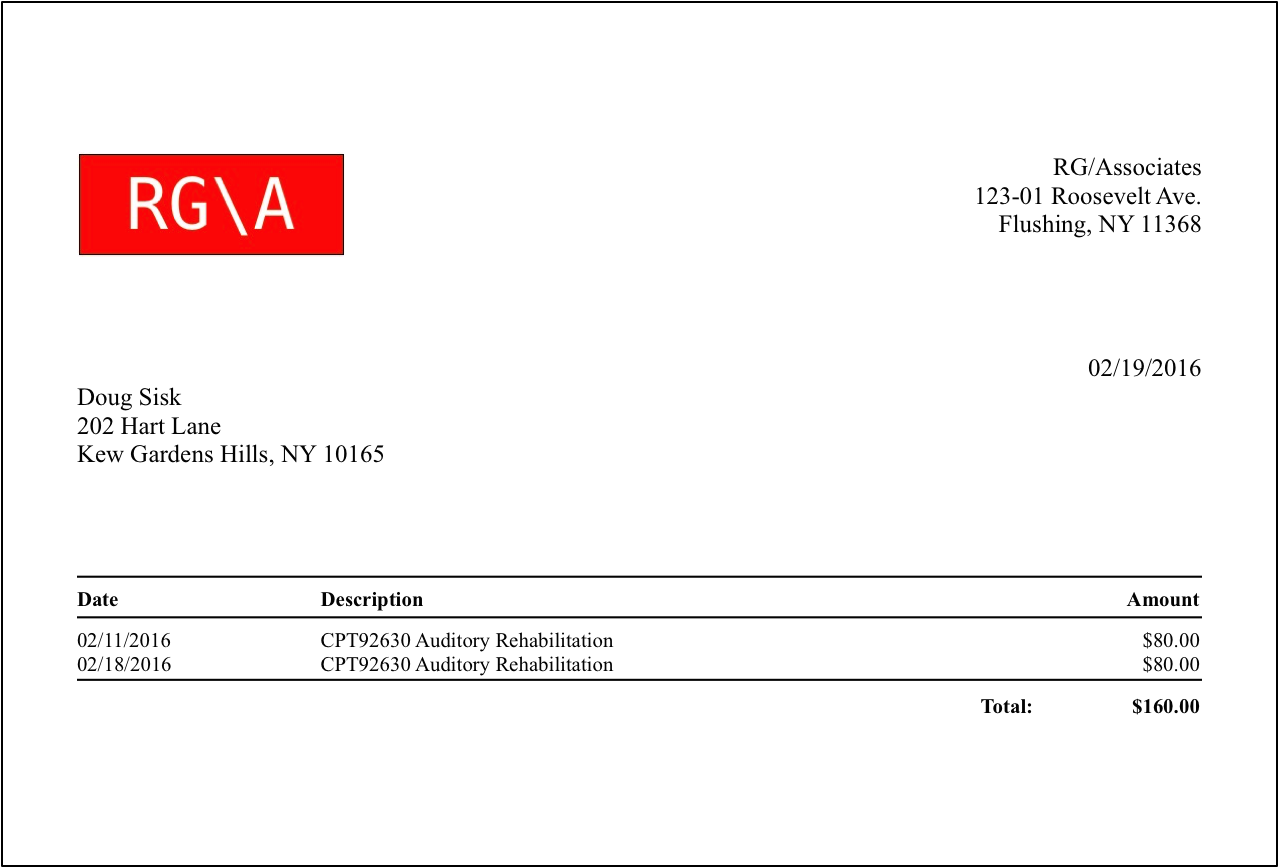 Sample Invoice with Professional Format.  This format is simpler and has fewer fields than the Business format.  This would typically be used by a therapist, music teacher, tutor, etc.