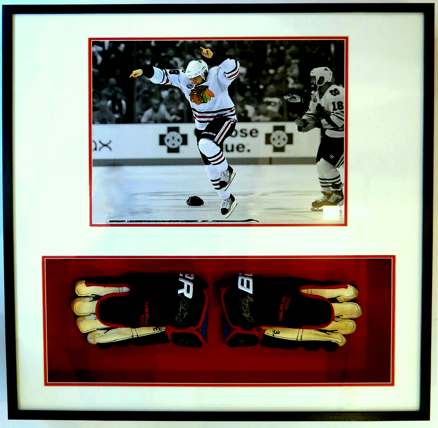 Game Used Full Size Hockey Gloves with a 16x20 Photograph