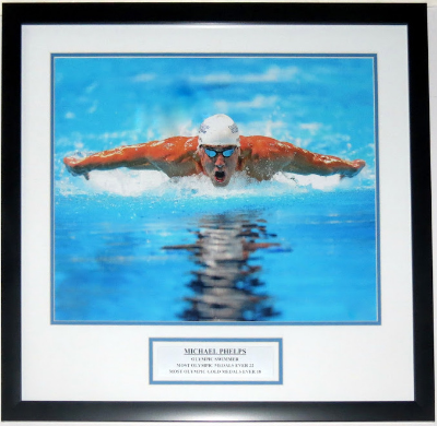 Olympic Swimmer Framed 16x20 Photograph - Double Matted and Plate