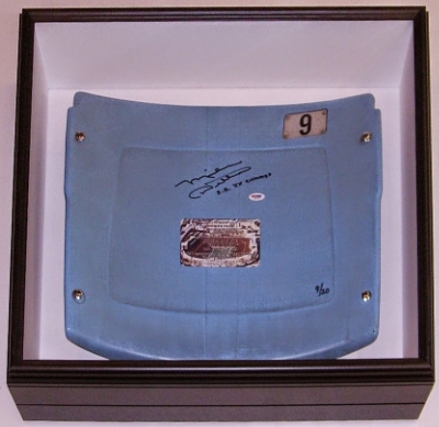 Framed Solider Field Used Seat Back Signedby Mike Ditka