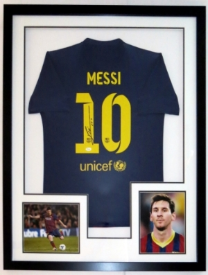 Lionel ' Leo ' Messi Signed Barcelona Jersey - JSA COA Authenticated - Professionally Framed & 2 8x10 Photo 32x42