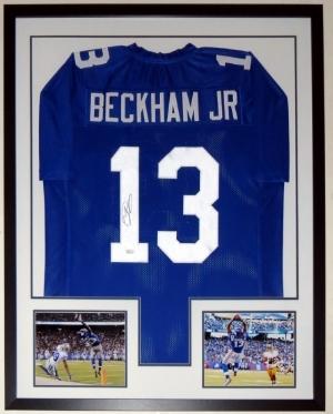 Odell Beckham Jr. Signed New York Giants Jersey - JSA COA Authenticated - Professionally Framed & 2 8x10 Photo - 32x42