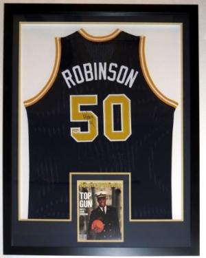 David Robinson Signed U.S. Navy Jersey - PSA DNA COA Authenticated - Professionally Framed & 8x10 Photo 34x42