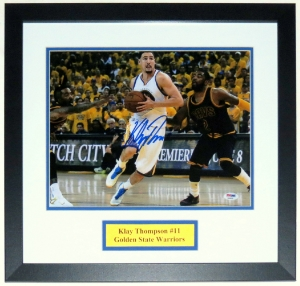 Klay Thompson Signed Golden State Warriors 11x14 Photo - PSA DNA COA Authenticated - Professionally Framed & Plate