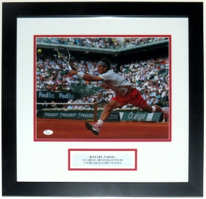 Rafael Nadal Signed French Open 11x14 Photo - JSA COA Authenticated - Professionally Framed & Plate