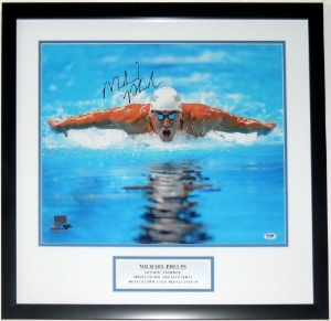 Michael Phelps Signed Team USA 16x20 Photo - PSA DNA COA Authenticated - Professionally Framed & Plate