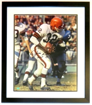 Jim Brown Signed Cleveland Browns 16x20 Photo - Mounted Memories COA Authenticated - Professionally Framed