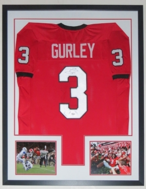 Todd Gurley Signed Georgia Bulldogs Jersey - JSA COA Authenticated - Professionally Framed & 2 8x10 Photo - 32x42