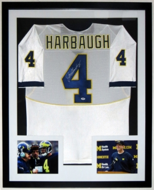 Jim Harbaugh Signed Michigan Wolverines Jersey - PSA DNA COA Authenticated - Professionally Framed & 2 8x10 Photo - 32x42