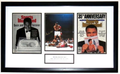 Muhammad Ali Signed 8x10 Photo Compilation - Mounted Memories COA Authenticated - Professionally Framed & Plate 34x16