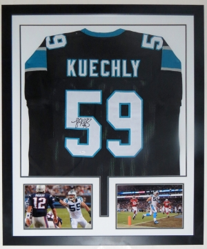 Luke Kuechly Signed Carolina Panthers Jersey - JSA COA Authenticated - Professionally Framed & 2 8x10 Photo - 32x42