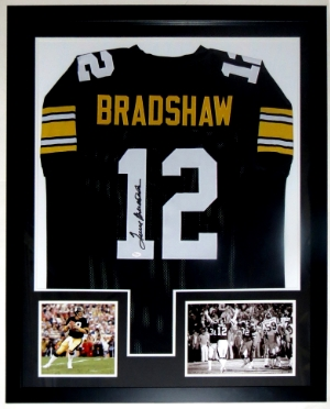 Terry Bradshaw Signed Pittsburgh Steelers Jersey - JSA COA Authenticated - Professionally Framed & 2 8x10 Photo - 32x42