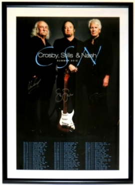 Crosby Stills and Nash Signed Tour Poster - PSA Authenticated - Professionally Framed 38x22