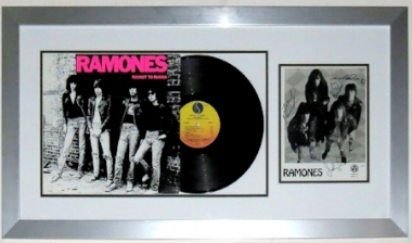 The Ramones Group Signed 8x10 Press Photo & Album Compilation - JSA Authenticated - Professionally Framed 34x18