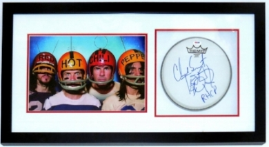 Chad Smith Signed Red Hot Chili Peppers Photo and Drum Head Compilation - PSA DNA COA Authenticated - Professionally Framed 36x16