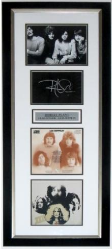 Robert Plant Signed Led Zeppelin Album Photo Compilation - JSA Authenticated - Professionally Framed 40x18