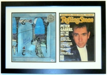 Peter Gabriel Signed Genesis Album & Rolling Stone Magazine Compilation - PSA DNA COA Authenticated - Professionally Framed 28x18