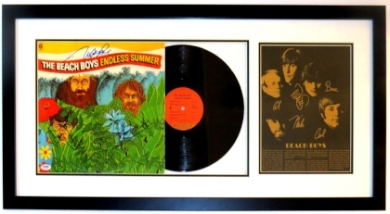 Beach Boys Endless Summer Group Signed Album & Record Compilation - PSA DNA COA Authenticated - Professionally Framed 34x16