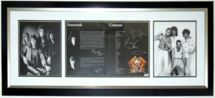 Brian May & Roger Taylor Signed Queen Photo Compilation - PSA DNA COA Authenticated - Professionally Framed 40x20