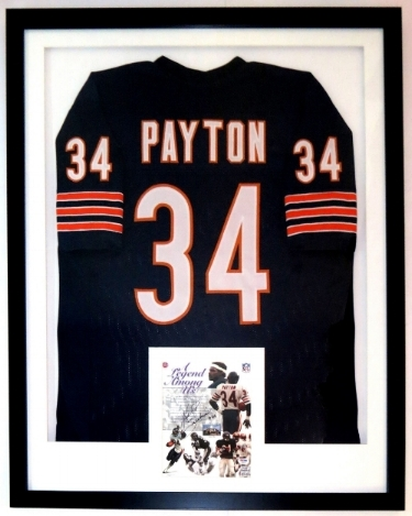 Walter Payton Signed Chicago Bears 8x10 Photo & Jersey Compilation - PSA DNA Authenticated - Professionally Framed 34x42