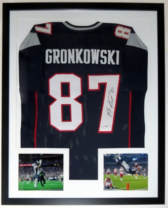 Rob Gronkowski Signed New England Patriots Jersey - PSA DNA COA Authenticated - Professionally Framed & 2 8x10 Photo - 32x42