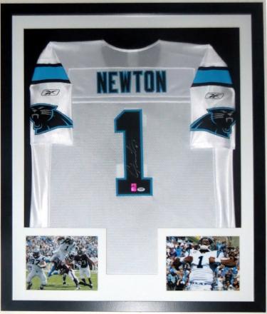 Cam Newton Signed Reebok Carolina Panthers Jersey - PSA DNA COA Authenticated - Professionally Framed & 2 8x10 Photos