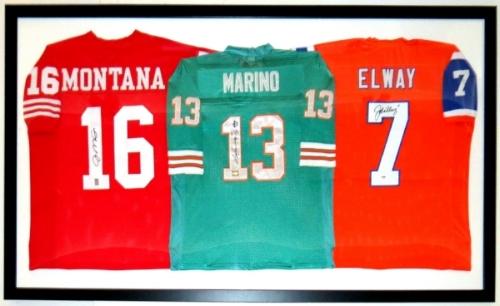Joe Montana Dan Marino John Elway Signed Jersey Compilation - PSA DNA COA Authenticated - Professionally Framed