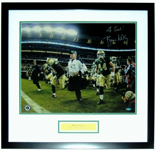 Brian Kelly Signed Notre Dame Irish 16x20 Photo - Steiner Sports COA Authenticated - Professionally Framed