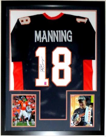 Peyton Manning Signed Denver Broncos Jersey - Manning COA Authenticated - Professionally Framed & 2 8x10 Photo - 32x42