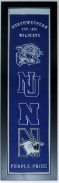Northwestern Wildcats Heritage Logo Banner - Professionally Framed