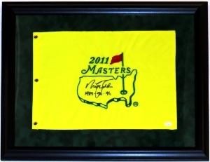Nick Faldo Signed Masters Pin Flag - JSA COA Authenticated - Professionally Framed