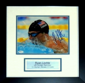 Ryan Lochte Signed Team USA 8x10 Photo - JSA COA Authenticated - Professionally Framed & Plate