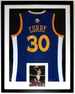 Stephen Curry Signed Golden State Warriors Jersey - JSA COA Authenticated COA - Professionally Framed & 8x10 Photo 34x42