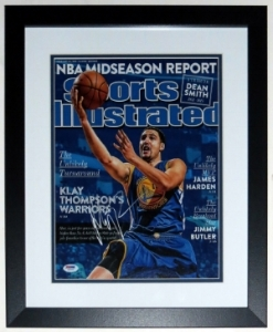 Klay Thompson Autographed Golden St. Warriors 11x14 Photo - PSA DNA COA Authenticated - Professionally Framed