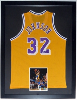 Magic Johnson Autographed Los Angeles Lakers Jersey - PSA DNA COA Authenticated - Custom Framed & 8x10 Photo 34x42