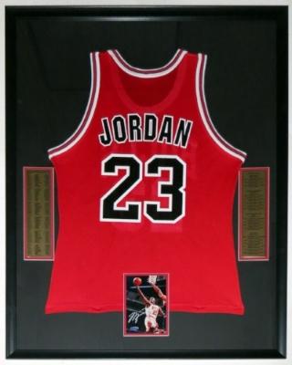 Michael Jordan SIgned 5x7 Photo & Champion Chicago Bulls Jersey - UDA COA Upper Deck Authenticated - Professionally Framed 34x42