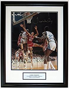 James Worthy Autographed North Carolina Tar Heels 16x20 Photo - PSA DNA COA Authenticated - Professionally Framed & Plate