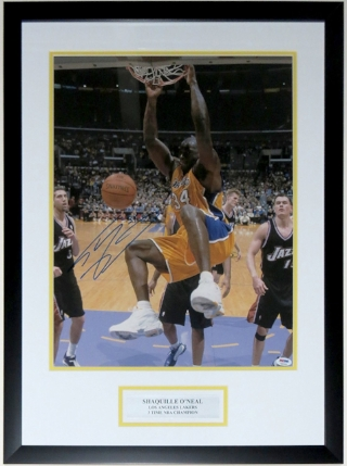 Shaquille O'Neal Signed Los Angeles Lakers 16x20 Photo - PSA DNA COA Authenticated - Custom Framed & Plate
