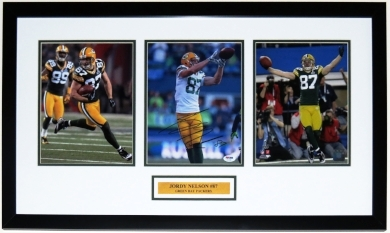 Jordy Nelson Signed Green Bay Packers 8x10 Photo Compilation - PSA DNA COA Authenticated - Professionally Framed & Plate