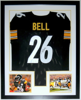 Le'veon Bell Signed Pittsburgh Steelers Jersey - JSA COA Authenticated - Professionally Framed & 2 8x10 Photo - 32x42