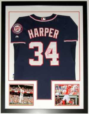 Bryce Harper Signed Majestic Washington Nationals Jersey - JSA COA Authenticated - Professionally Framed & 2 8x10 Photo 34x42