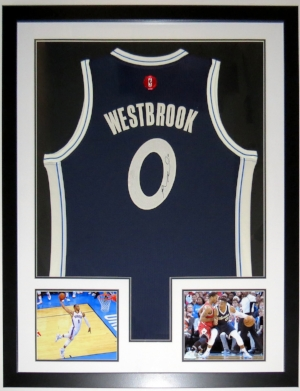 Russell Westbrook Signed Oklahoma City Thunder Jersey - BSI COA Authenticated - Professionally Framed & 2 8x10 Photo 34x42