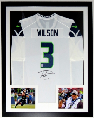 Russell Wilson Signed Seattle Seahawks Jersey - Wilson COA Authenticated - Professionally Framed & 2 8x10 Photo 34x42