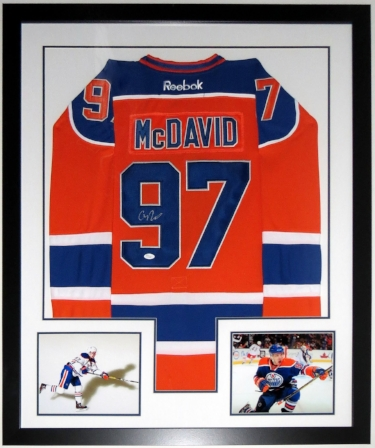 Connor McDavid Signed Edmonton Oilers Jersey - PSA DNA COA Authenticated - Professionally Framed & 2 8x10 Photo 34x42