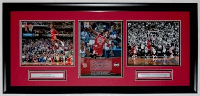 Michael Jordan Signed Chicago Bulls Upper Deck Authenticated 8x10 Photo Compilation - UDA COA - Custom Framed 32x16