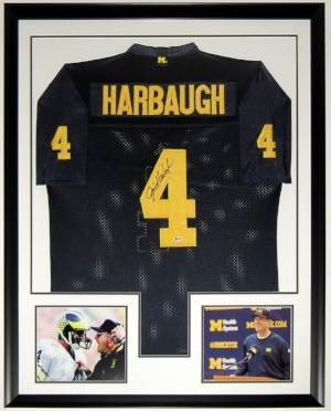 Jim Harbaugh Signed Michigan Wolverines Jersey - BAS COA Authenticated - 2 8x10 Photo - 34x42