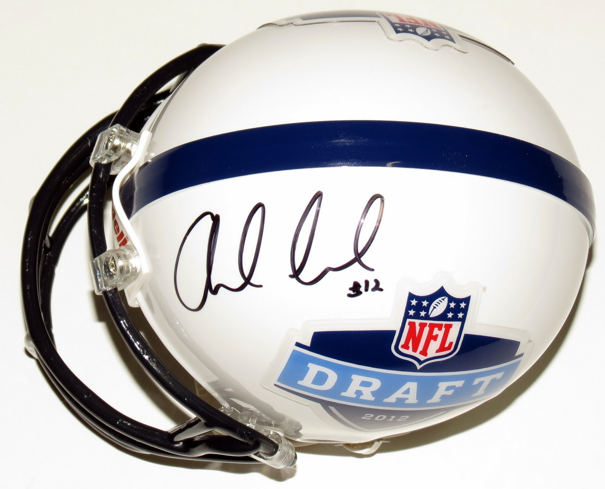 Andrew Luck Signed 2012 NFL Draft Rookie Year Mini Helmet - BAS COA Authenticated